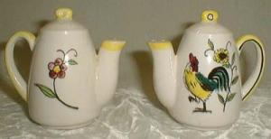 Rooster & Flower Salt & Pepper Shakers