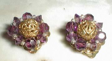 Lisner filagree clip back earrings