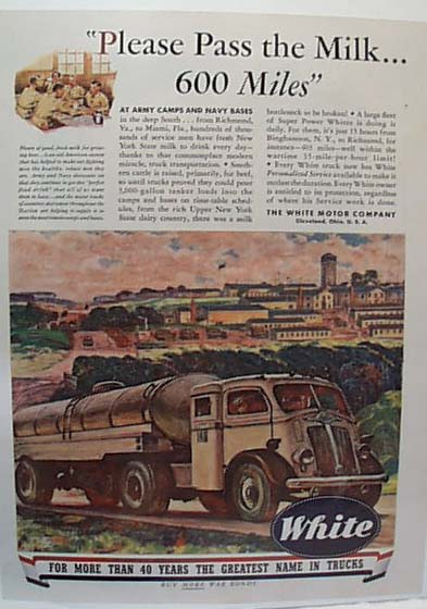 White Truck Carries Milk 600 MilesToTroops Ad