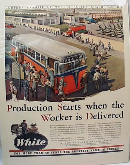 White Coaches Bring War WorkersTo Job 1942 Ad