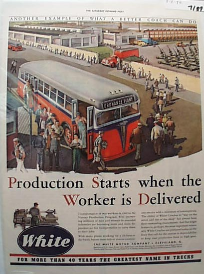 White Bus1942 Ad Take Workers To Ordinance Pl