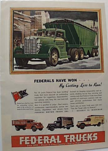 Federal Trucks 1947 Ad Pabst and Carter