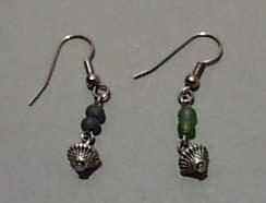 Silver Tone & Green Glass Earrings