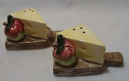 Cheese & Apple On Cutting Board S & P Ceramic
