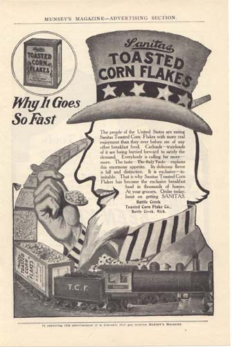 Sanitas Toasted Corn Flake Ad 1900's