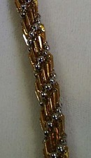 Glass Bead Necklace Amber & Gold Tone