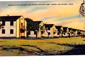 San Antonio aviation post card, barracks and quarter postcard, 40's