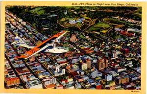 US. PBY plane at San Diego CA. post card