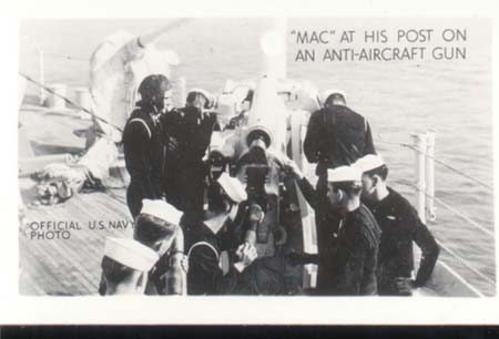 WWII Navy Photo Mac On Anti Aircraft Gun