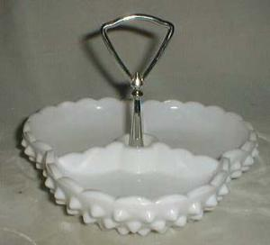 Fenton Hobnail Relish Dish, Milk Glass