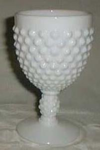 Fenton Hobnail Goblet in Milk Glass