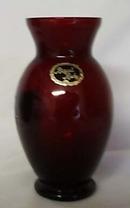 Anchor Hocking Royal Ruby Handpainted Vase