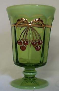 Mosser Cherry Thumbprint Goblet, Opalescent