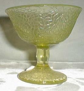 US Glass Craquel Low Sherbet in Green