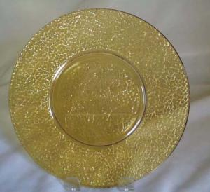 L.E. Smith Crackle Plate in Amber