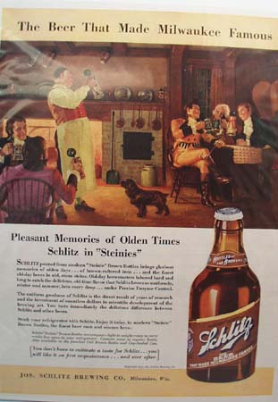 Schlitz Beer Pleasant Memories Ad 1937