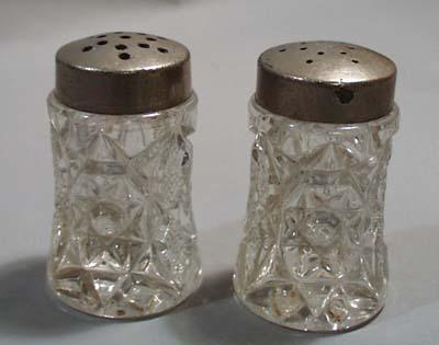 Pressed Glass Salt & Pepper Shakers