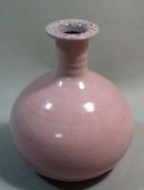 Redware vase with purple & black spotted vase