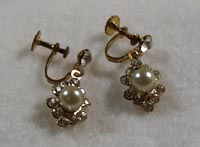Crystal & Faux Pearl Screwback Earrings