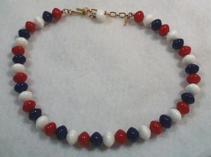 Trifari Necklace Red White & Blue Beads