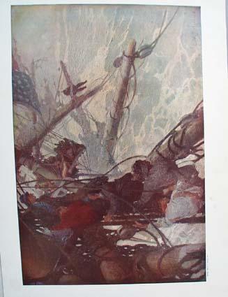 1908 The breeches buoy by W. J. Aylward original print