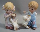 Homco Boy with Lamb and Girl with Goose Figurines
