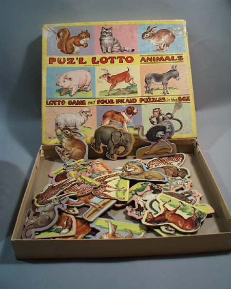 Old lotto animal box & pieces