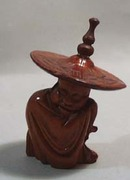 Hand carved Chinese man with large hat
