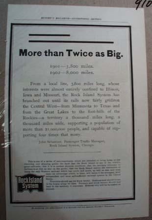 Rock Island System Railroad Ad More than Twice As Big