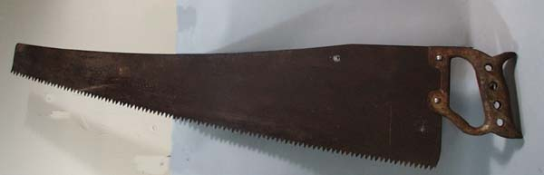 Steel handle hand saw, marked W in a circle