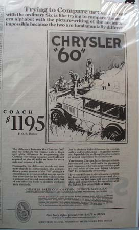Chrysler Sales Corp 1926 Ad