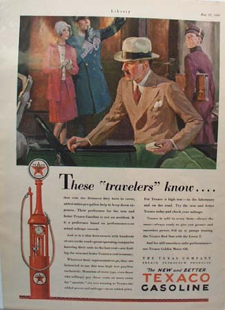 Texaco Gasoline Travelers Ad 1929