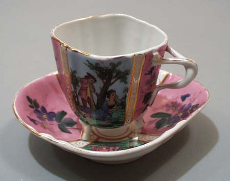 Cup & saucer set, hand painted pink and lavender shades