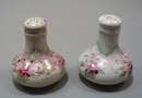 Porcelain Sahkers with lavender and pink floral design