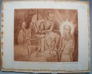 Christ before Pilate, 1941 Wood Block by Leo N. Bushman.  Signed and numbered 6 of 8.  Wood block is highly detailed, brown tone ink, and in mint condition. It has a ring of glue around outside edge where a matt was glued at one time and will be again whe