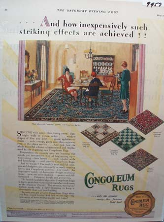 Congoleum Rugs Striking Effects Ad 1929