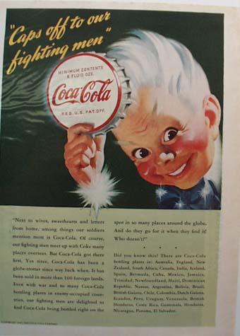Coca-Cola Caps Off to Our Fighting Men Ad 1943