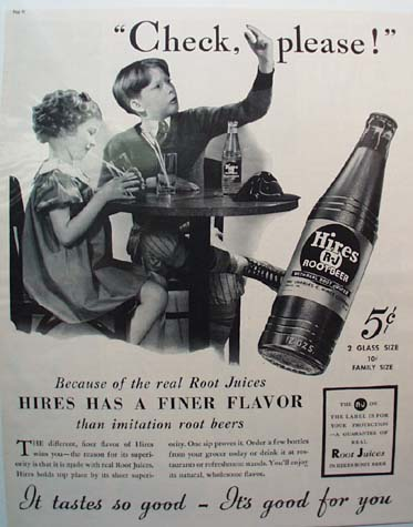 Hires Root Beer Check Please Ad 1937