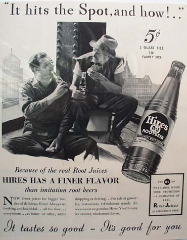 Hires Root Beer Hits The Spot Ad 1938