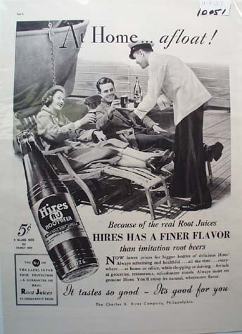 Hires Root Beer At Home & Afloat Ad 1937