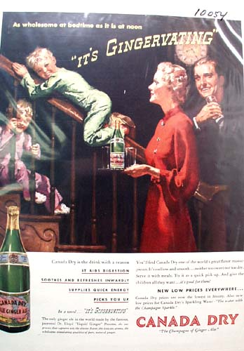Ginger Ale Wholesome at Bedtime Ad 1937