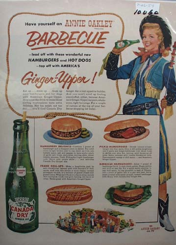 Canada Dry Ginger Ale Annie Oakley BBQ Ad 1954