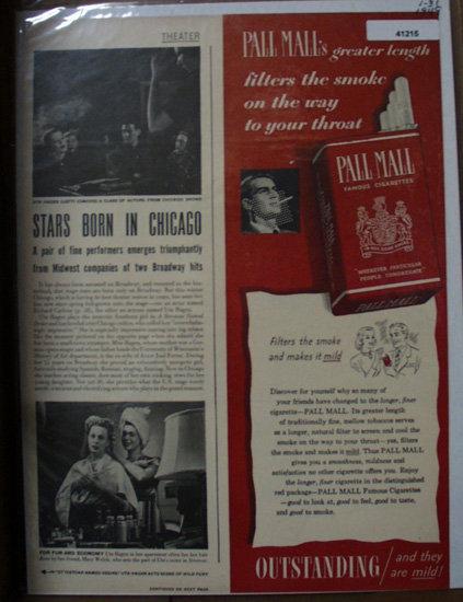 Pall Mall Cigarettes 1949 Ad