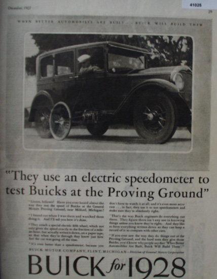 Buick Motor Company 1927 Ad.