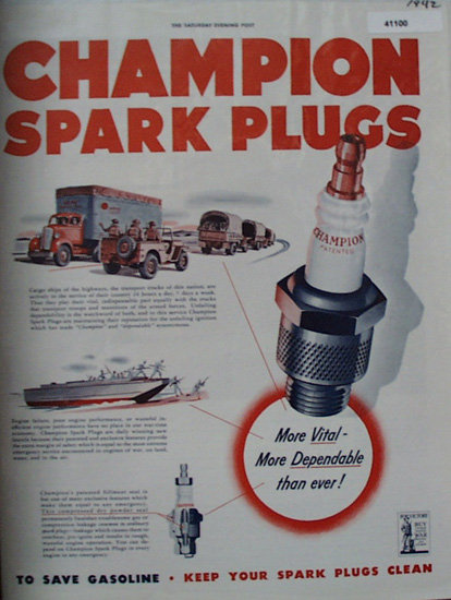 Champion Spark Plugs 1942 Ad