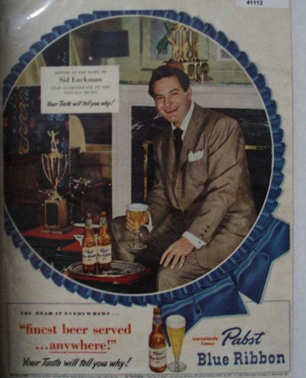 Pabst Blue Ribbon Beer 1949 Ad