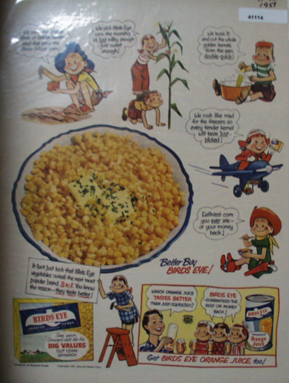 Birds Eye Foods From General Foods 1951 Ad.