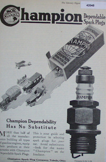 Champion Dependable Spark Plugs 1920 Ad