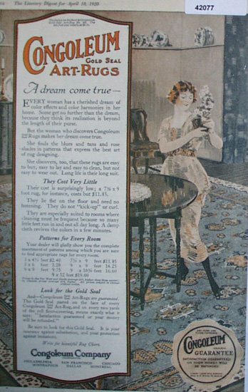 Congoleum Co. Art Rugs 1920 Ad