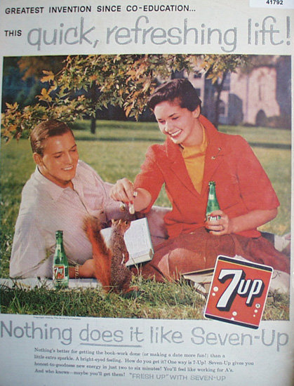 Seven Up Fresh Up With Seven UP 1959 Ad.
